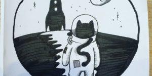Et børnerim om en kat der drømmer om at komme ud i rummet