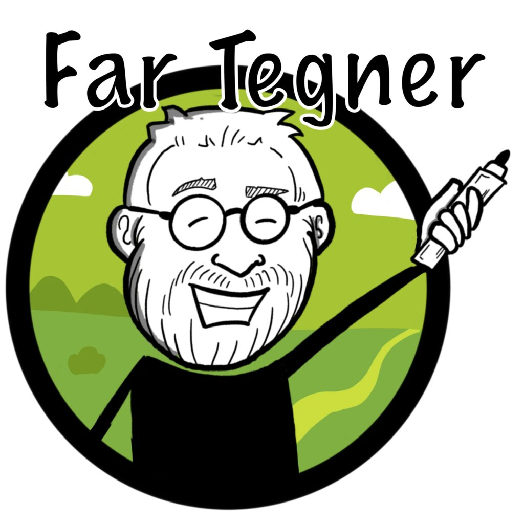 Jeg har selv illustreret Far Tegners logo, som tydeligt kommunikerer, at jeg arbejder med illustration.