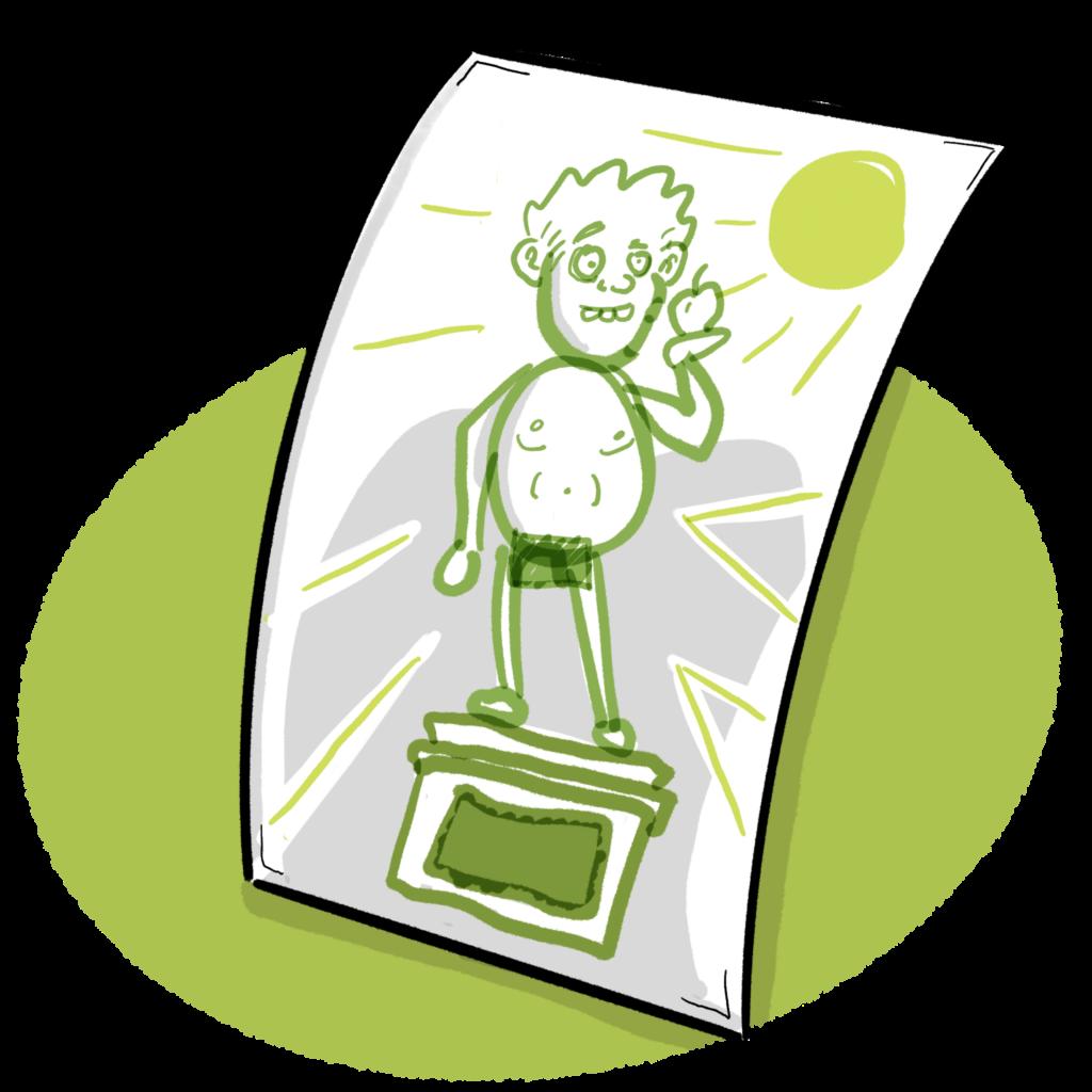 Skitsen er et dialogværktøj, som skal hjælpe os til at finde frem til, hvordan den endelige illustration skal se ud.